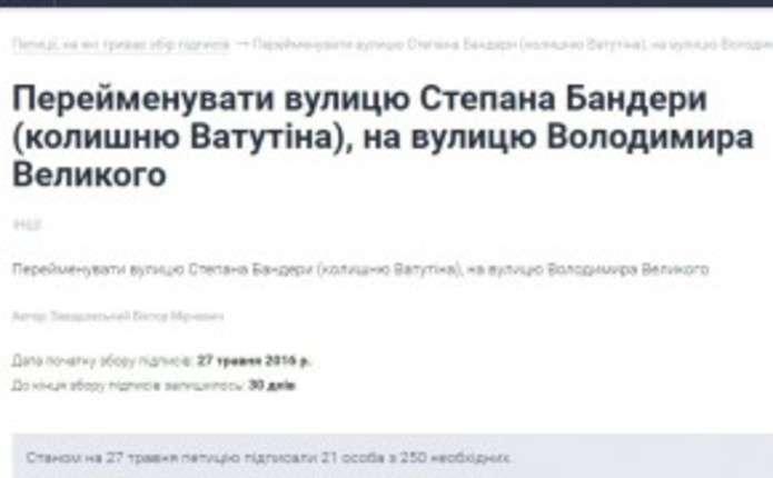 Замість вулиці С. Бандери чернівчани хочуть вулицю Володимира Великого