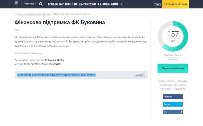Вболівальники петицією просять у міськради обіцяні 2 млн. для ФК Буковина
