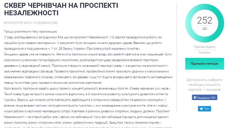 Чернівчани підтримали петицію щодо створення скверу на проспекті Незалежності