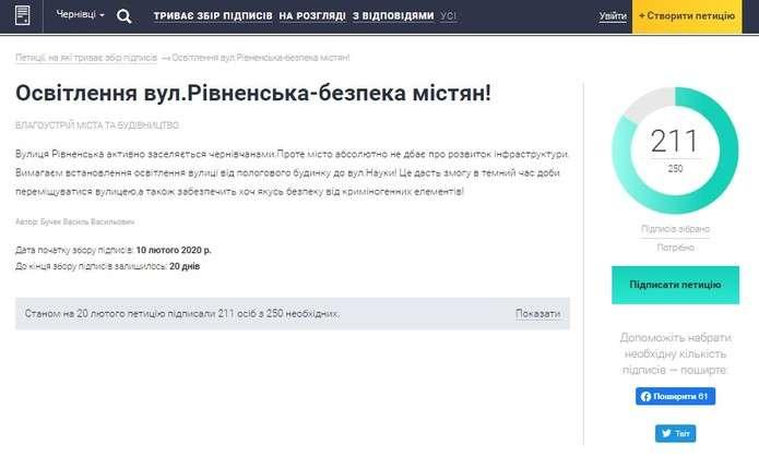 З'явилася петиція щодо освітлення вулиці Рівненської у Чернівцях