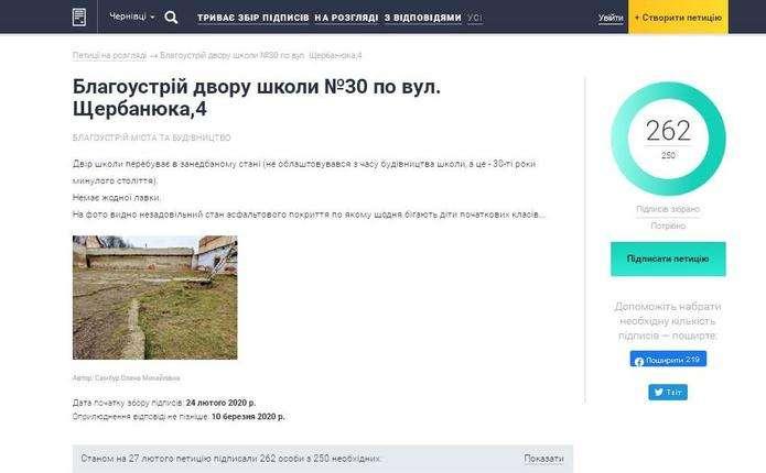 Чернівчани підтримали петицію щодо благоустрою двору школи №30