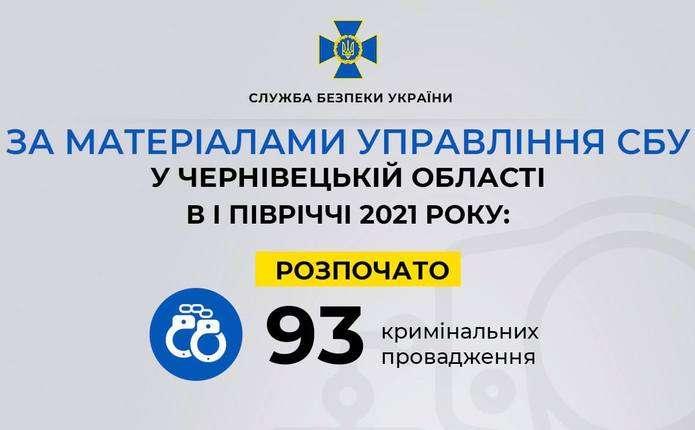 За матеріалами СБУ у Чернівецькій області відкрили 93 кримінальні провадження